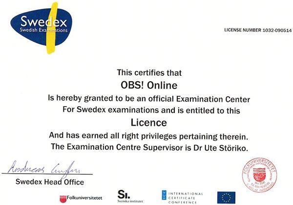 Лицензия прохождения теста Swedex